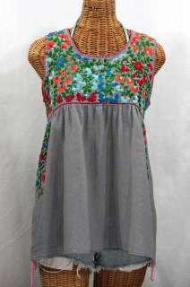 """La Sirena"" Sleeveless Mexican Peasant Blouse -Grey + Fiesta Embroidery"