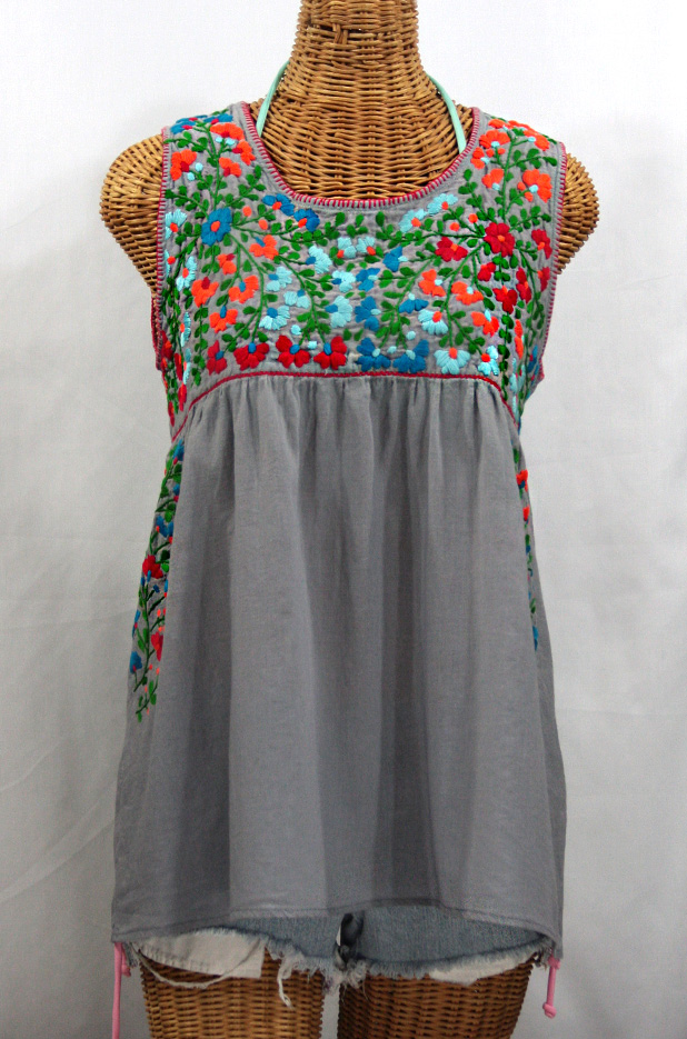 Quot La Sirena Quot Sleeveless Mexican Peasant Blouse Grey