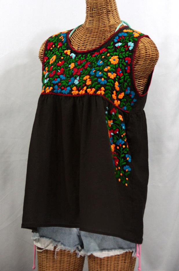 """La Sirena"" Sleeveless Mexican Blouse -Dark Brown + Fiesta Embroidery"