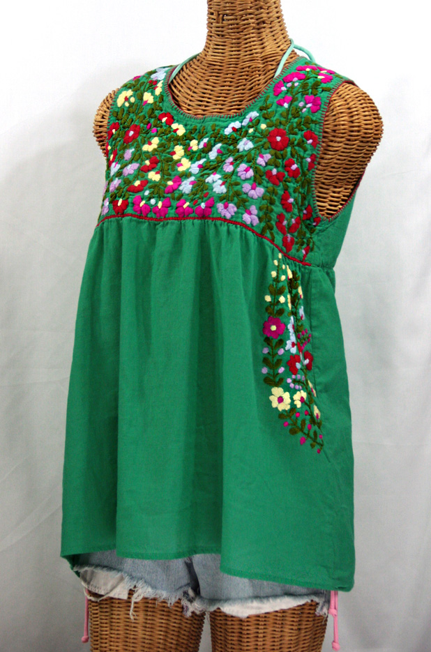 """La Sirena"" Embroidered Mexican Style Peasant Top -Green"