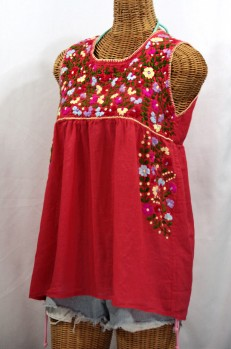 """La Sirena"" Embroidered Mexican Style Peasant Top - Tomato Red + Multi"