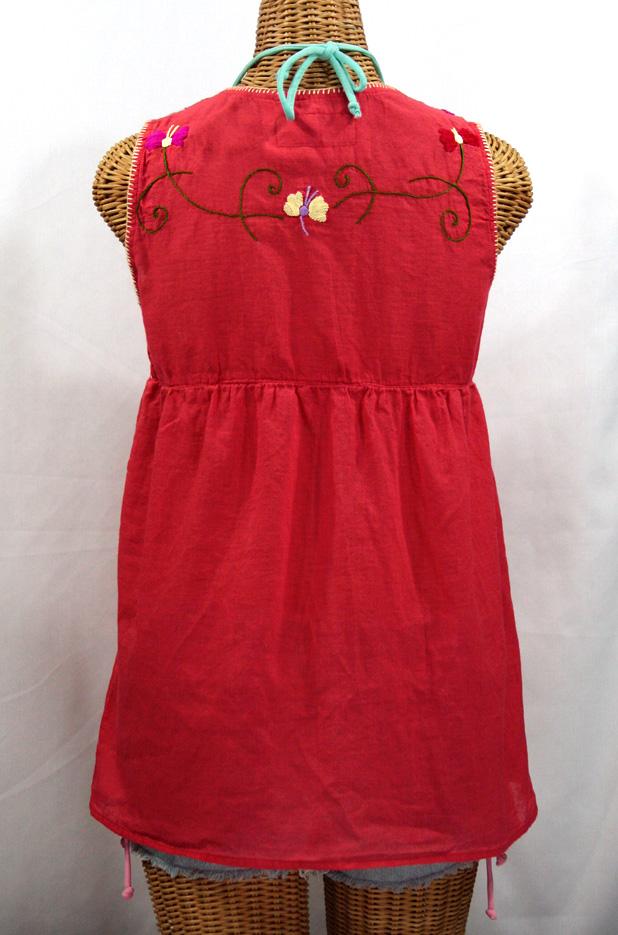 """""""La Sirena"""" Embroidered Mexican Style Peasant Top - Tomato Red + Multi"""
