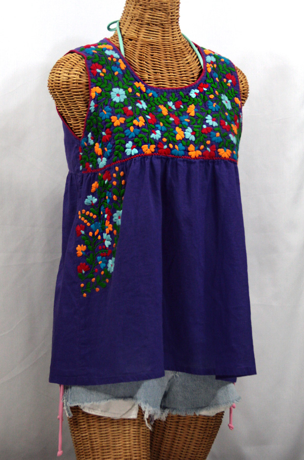 """La Sirena"" Sleeveless Mexican Blouse -Purple + Fiesta Embroidery"