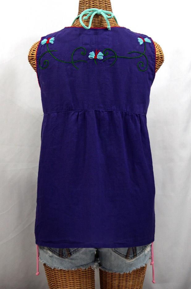 """La Sirena"" Sleeveless Mexican Blouse -Purple + Fiesta Embroidery"