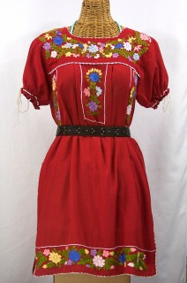 """La Antigua"" Mexican Embroidered Peasant Dress - Red"