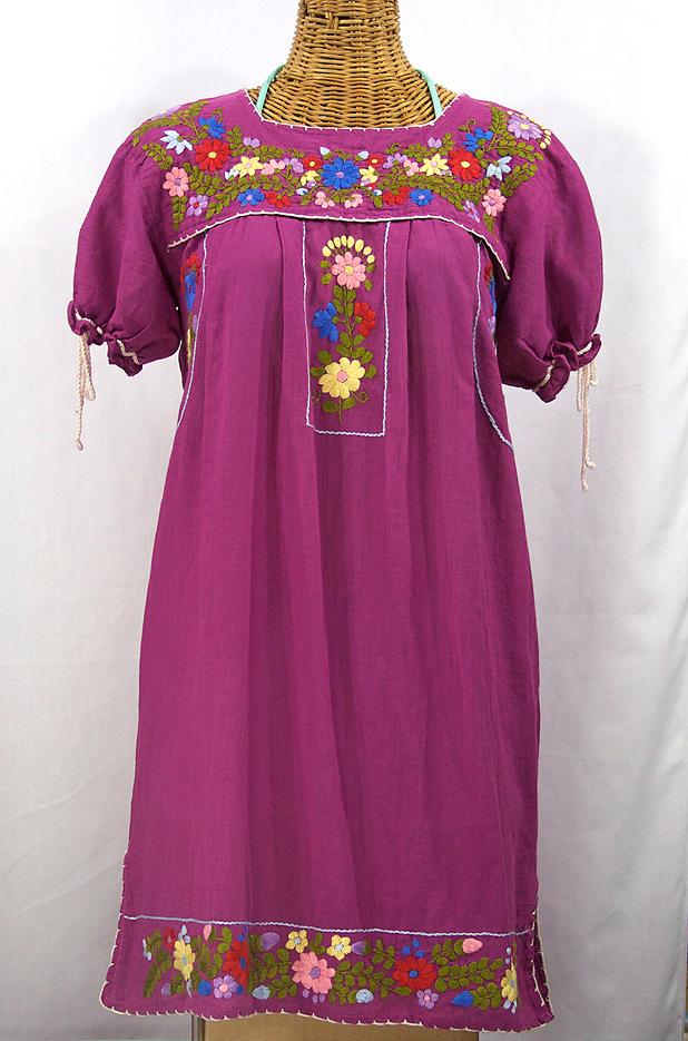 """""""La Antigua"""" Mexican Embroidered Peasant Dress - Fuchsia"""