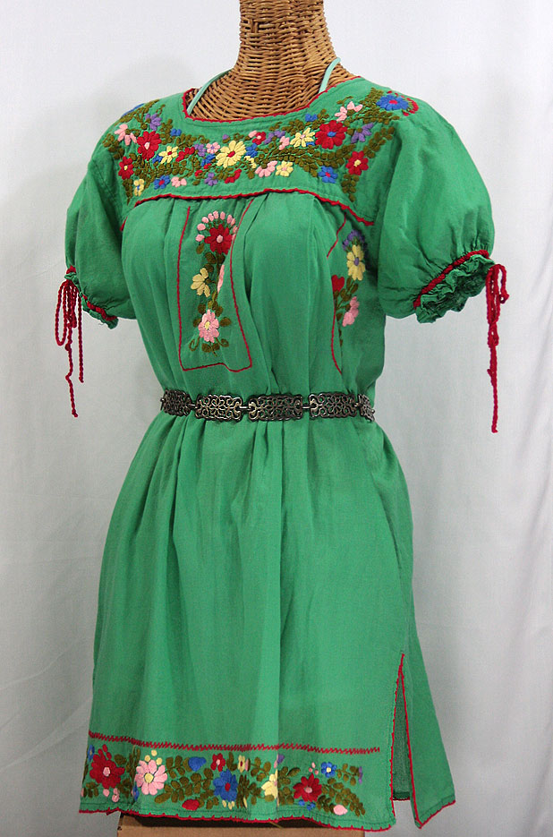 """Best Paddle Boards >> """"La Antigua"""" Embroidered Mexican Dress - Green"""
