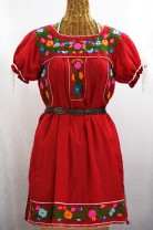 """La Antigua"" + ""La Saladita"" Puff Sleeve and Open Sleeve Embroidered Peasant Mini Dresses"