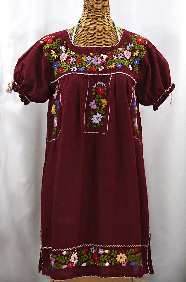 """""""La Antigua"""" Embroidered Mexican Style Peasant Dress - Burgundy"""