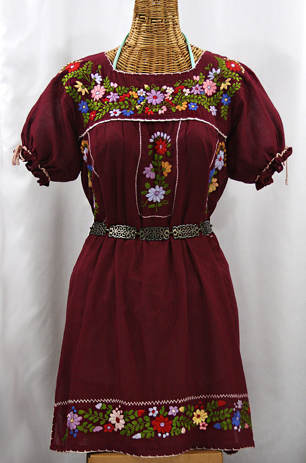 """La Antigua"" Embroidered Mexican Style Peasant Dress - Burgundy"