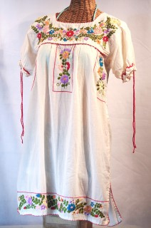 """La Antigua"" Embroidered Mexican Style Peasant Dress - Off White"