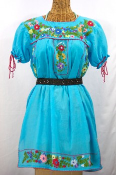"""""""La Antigua"""" Mexican Embroidered Peasant Dress - Turquoise + Red Trim"""