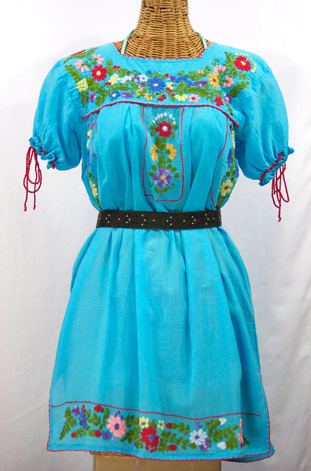 Quot La Antigua Quot Mexican Embroidered Peasant Dress Turquoise