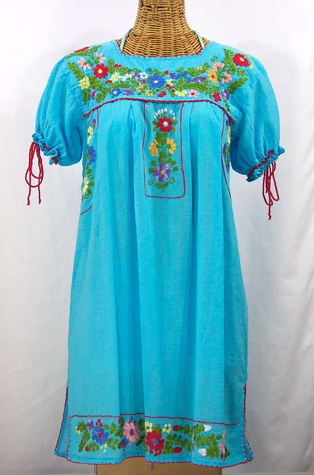 """La Antigua"" Mexican Embroidered Peasant Dress - Turquoise + Red Trim"