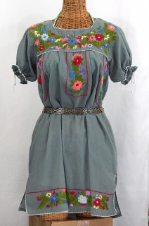 """La Antigua"" Embroidered Mexican Style Peasant Dress - Grey"