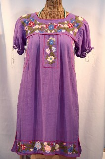 """La Antigua"" Mexican Embroidered Peasant Dress - Purple"