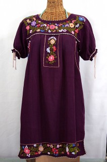 """La Antigua"" Embroidered Mexican Style Peasant Dress - Plum"