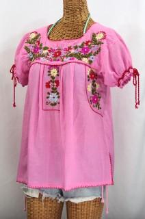"""La Antiguita"" Embroidered Mexican Style Peasant Blouse - Bubblegum"