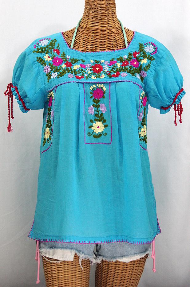 """La Antiguita"" Embroidered Mexican Style Peasant Blouse - Aqua"