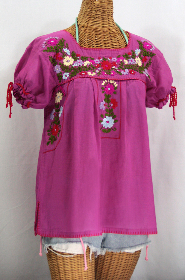 """La Antiguita"" Embroidered Mexican Style Peasant Blouse - Fuchsia Pink"