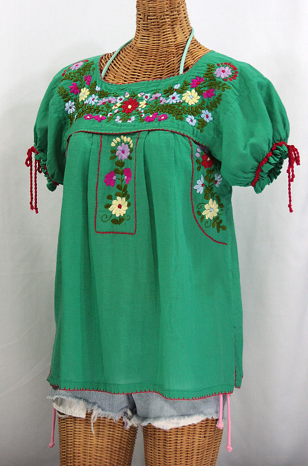"""""""La Antiguita"""" Embroidered Mexican Style Peasant Blouse - Green"""