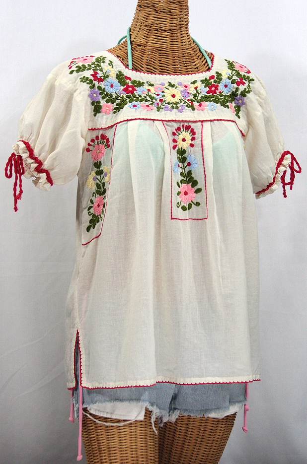 """""""La Antiguita"""" Embroidered Mexican Style Peasant Blouse - Off White"""
