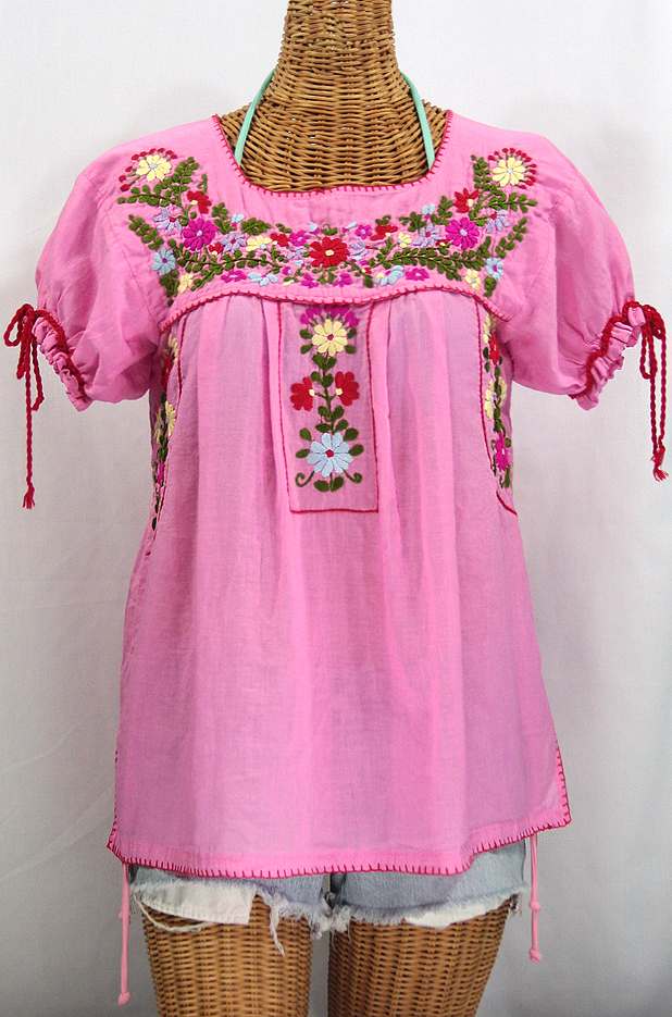 """La Antiguita"" Embroidered Mexican Style Peasant Blouse - Bubblegum"