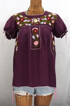 """La Antiguita"" Embroidered Mexican Style Peasant Blouse - Plum Purple"