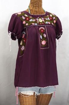 """La Antiguita"" Embroidered Mexican Style Peasant Blouse - Plum Purple"