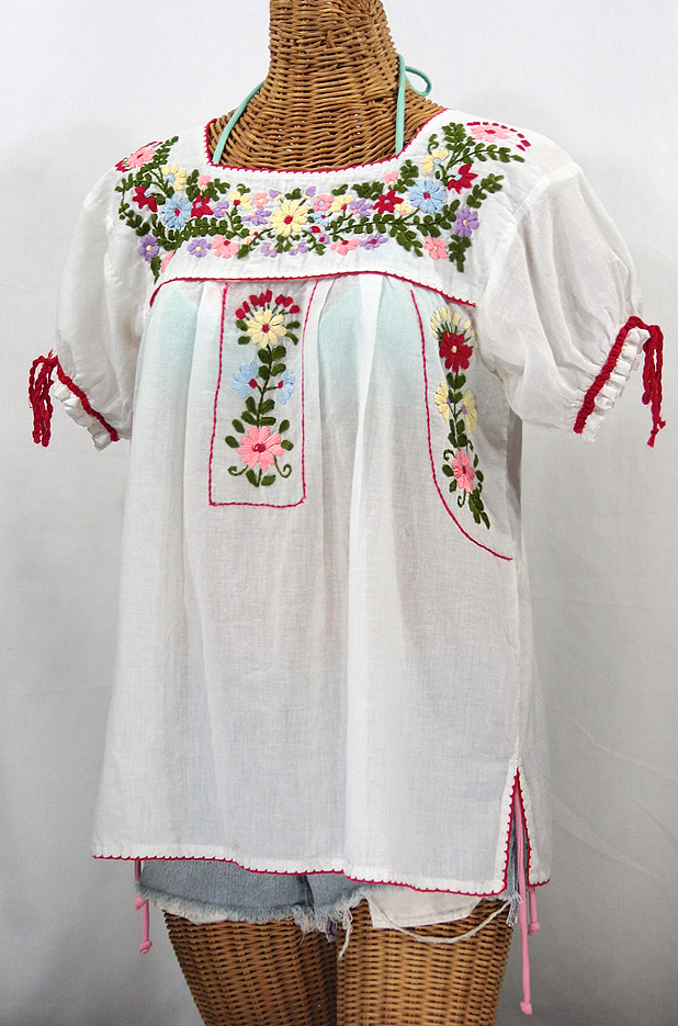 """La Antiguita"" Embroidered Mexican Style Peasant Blouse - White"