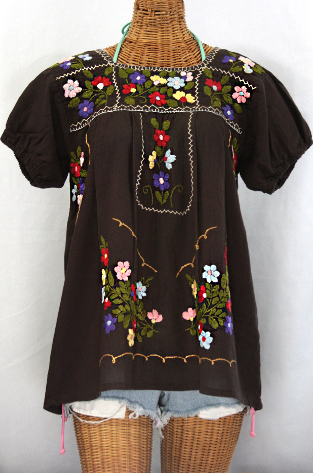 """""""La Belleza"""" Mexican Blouse -Brown"""