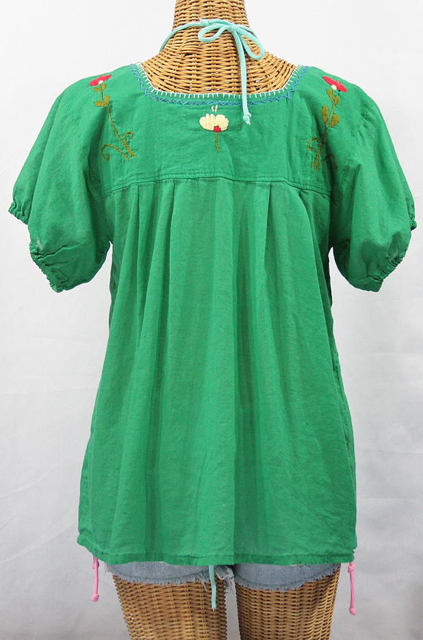 """La Belleza"" Embroidered Mexican Peasant Top -Green"