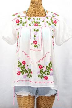 """""""La Belleza"""" Embroidered Mexican Peasant Blouse -White"""