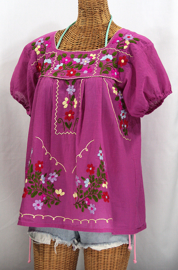 """La Belleza"" Embroidered Mexican Peasant Top -Fuchsia Pink"