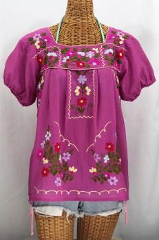 """""""La Belleza"""" Embroidered Mexican Peasant Top -Fuchsia Pink"""