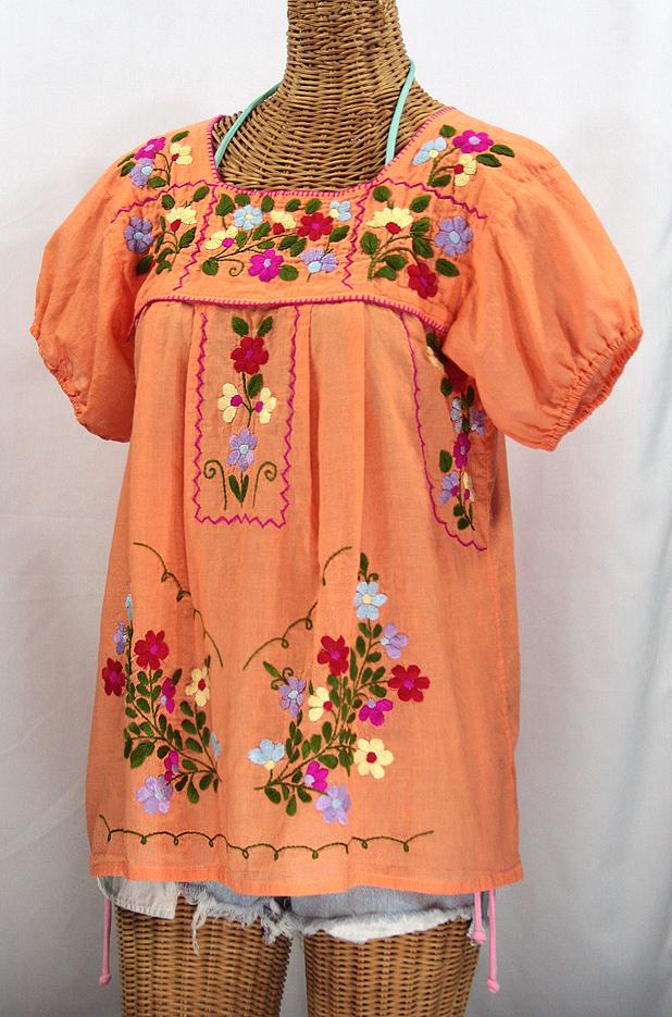 """""""La Belleza"""" Mexican Blouse - Orange Cream"""