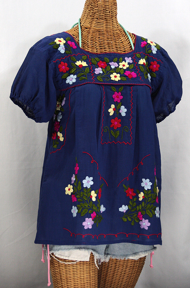 """""""La Belleza"""" Mexican Blouse - Denim Blue"""