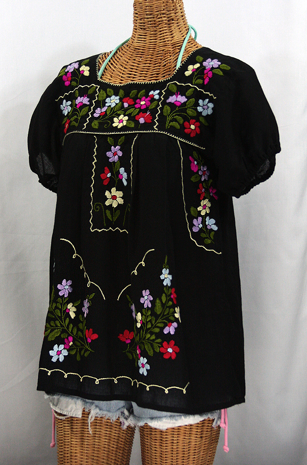 """La Belleza"" Embroidered Mexican Peasant Blouse -Black"