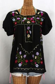 """""""La Belleza"""" Embroidered Mexican Peasant Blouse -Black"""