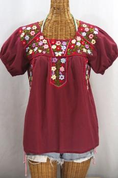"""La Fresca"" Embroidered Mexican Peasant Top - Burgundy + Multi"