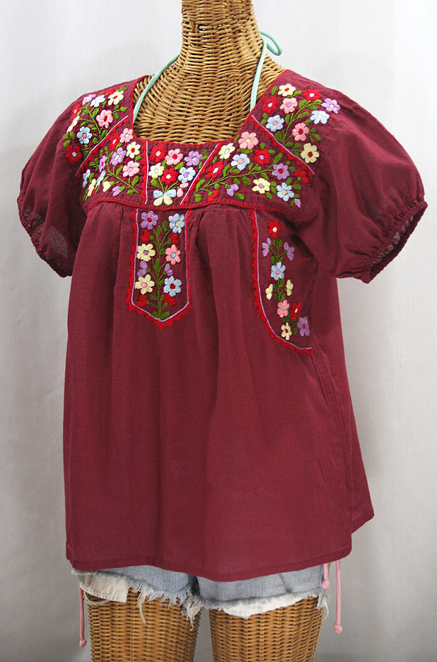 "FINAL SALE -- ""La Fresca"" Embroidered Mexican Peasant Top - Burgundy + Multi"