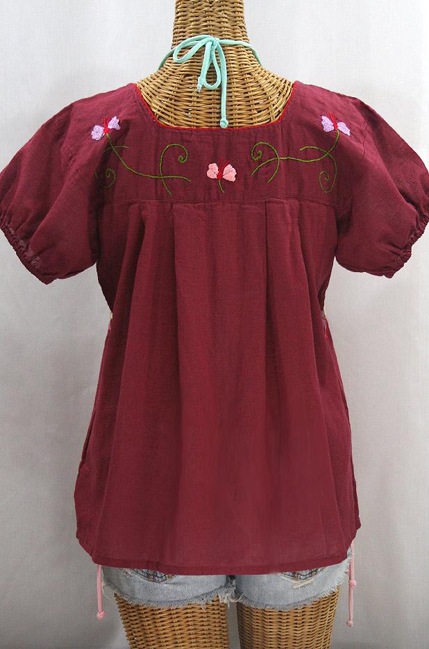 "Final Sale 40% Off -- ""La Fresca"" Embroidered Mexican Peasant Top - Burgundy + Multi"