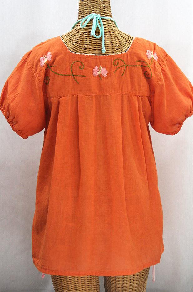 """Final Sale 40% Off -- """"La Fresca"""" Embroidered Mexican Peasant Top - Burnt Orange + Multi"""