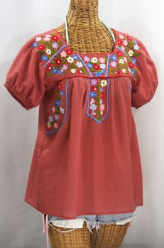 """La Fresca"" Embroidered Mexican Peasant Top - Terracotta + Multi"