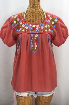 """""""La Fresca"""" Embroidered Mexican Peasant Top - Terracotta + Multi"""