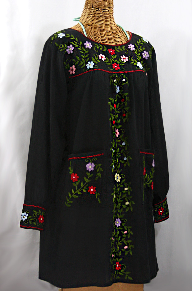 "Final Sale 60% Off -- ""La Bolsita"" Embroidered Folkloric Tunic Style Mini Dress - Black + Multi"