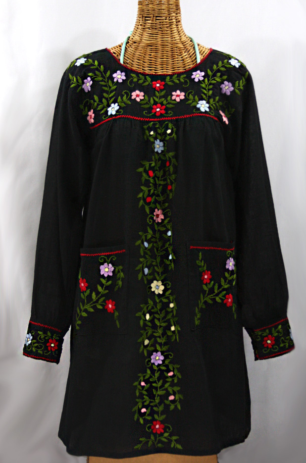 """La Bolsita"" Embroidered Folkloric Tunic Style Mini Dress - Black + Multi"