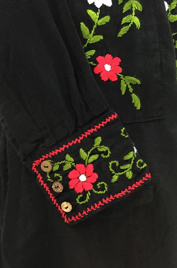 """La Bolsita"" Embroidered Folkloric Tunic Style Mini Dress - Black + Multi"