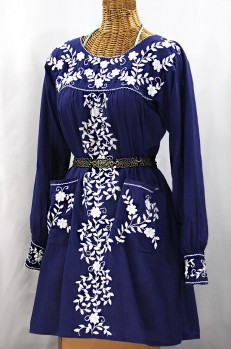 """La Bolsita"" Embroidered Folkloric Tunic Style Mini Dress - Denim Blue + White"
