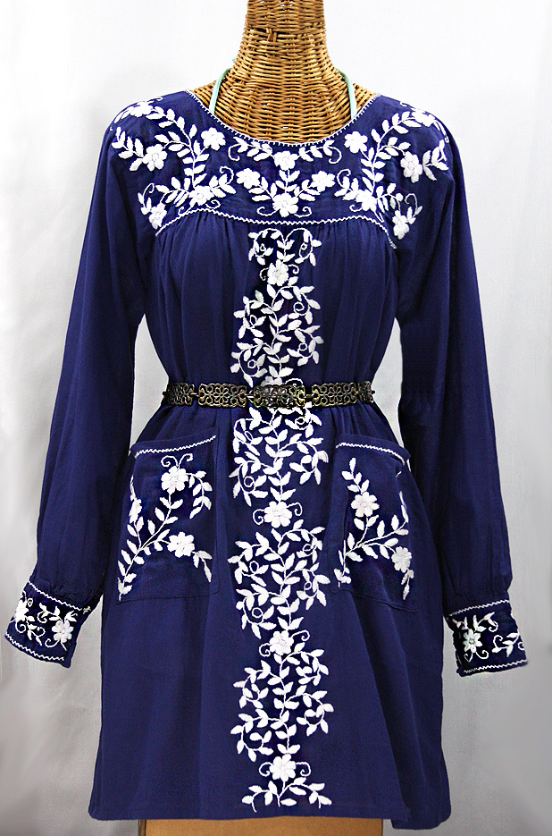 """La Bolsita"" Embroidered Folkloric Tunic Style Mini Dress - Denim Blue + White"